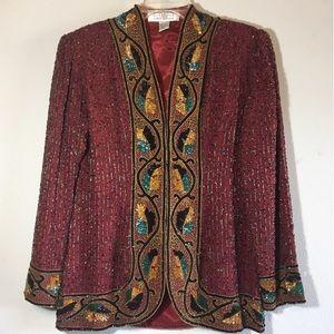 Vintage Blazer Embellished 80's 90's Jacket Beaded